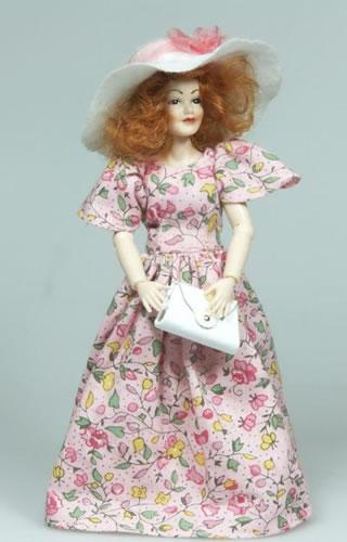 Heidi Ott Dolls House Doll, Red Head Lady in Floral Dress (X089)