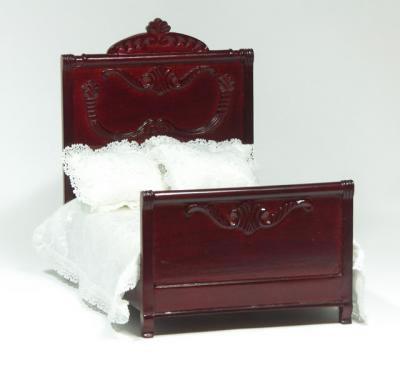 Dolls House Miniature Mahogany Double Bed (XY551M)