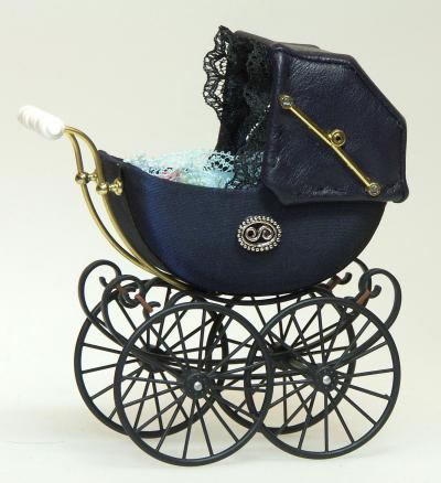 Navy Blue Pram, Dolls House Miniature (XZ108)