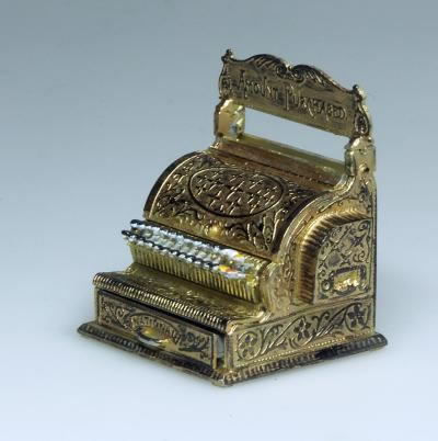 Gold Cash Register Till, Dolls House Miniature (XZ269)