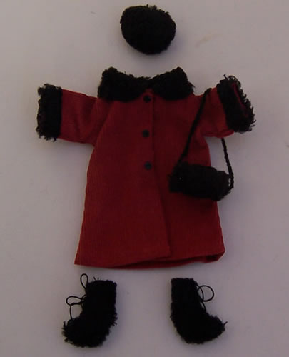 Teenager Red Coat Outfit, Dolls House Miniature (XZ824)