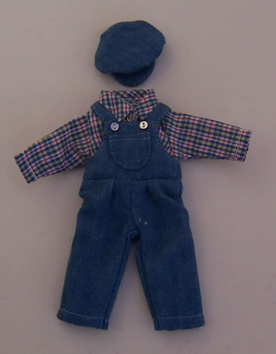 Teenagers Blue Dungarees Outfit, Dolls House Miniature (XZ825)
