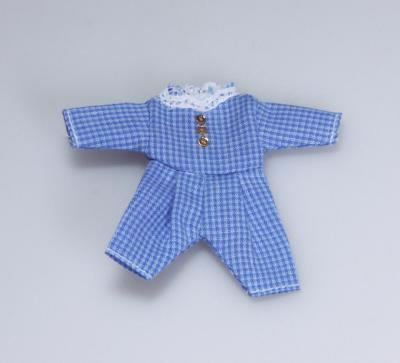 Blue Check Toddler's Outfit, Dolls House Miniature (XZ882)