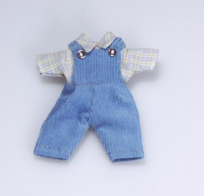 Toddlers Blue Dungaree Outfit, Dolls House Miniature (XZ883)