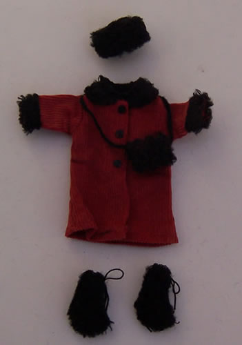Child's Red Coat Outfit, Dolls House Miniature (XZ950)
