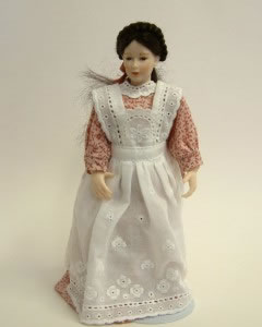 Heidi Ott Dolls House Doll, Maid with Pink Patterned Dress (X014)