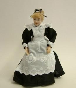 Heidi Ott Dolls House Doll, Young Maid with Black & White Dress (X018)
