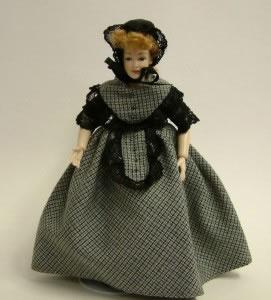 Heidi Ott Dolls House Doll, Lady with Dark Outfit (X029)