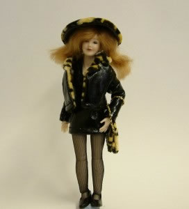 Heidi Ott Dolls House Doll, Lady Wearing Black Leather (X031)