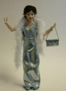Heidi Ott Dolls House Doll, Lady Wearing Blue Evening Dress (X033)