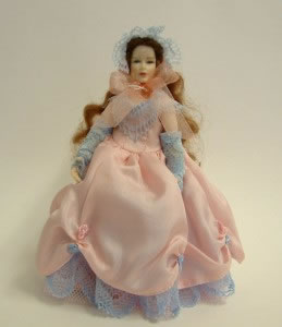 Heidi Ott Dolls House Doll, Lady Wearing a Pink Dress (X034)