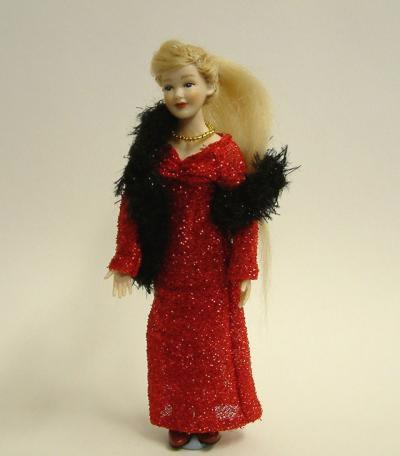 Heidi Ott Dolls House Doll, Lady with Red Dress and Stole (X040)