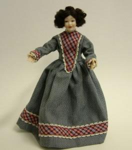 Heidi Ott Dolls House Doll, Lady Wearing a Blue/White Tartan Dress (X043)