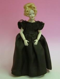 Heidi Ott Dolls House Doll, Lady Wearing a Black Evening Dress (X045)