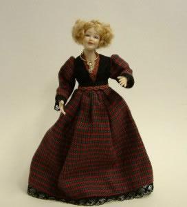 Heidi Ott Dolls House Doll, Lady Wearing a Red Tartan Dress (X046)
