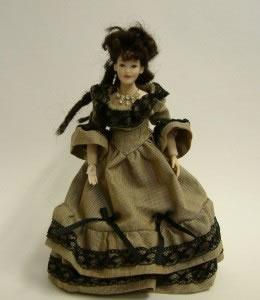 Heidi Ott Dolls House Doll, Lady Wearing Brown Stripe Black Lace (X049)