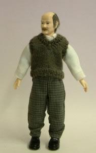 Heidi Ott Dolls House Doll, Man Wearing Jumper- Bald (X052)