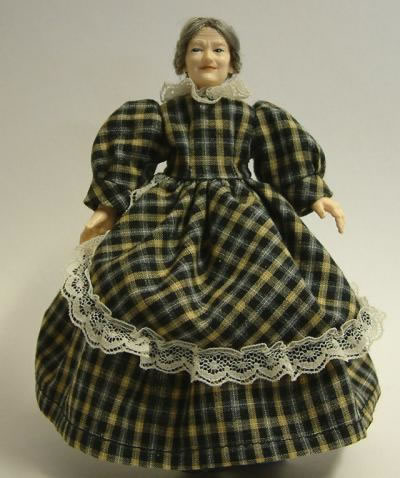 Heidi Ott Dolls House Doll, Old Lady in a Checked Dress (X054)