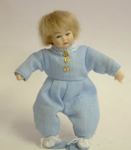 Heidi Ott Dolls House Doll, Toddler in a Blue Outfit (XB500)