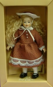 Heidi Ott Dolls House Doll, Young Girl in a Brown Dress (XC001)