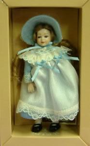 Heidi Ott Dolls House Doll, Young Girl in a Blue & White Dress (XC007)