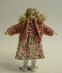 Heidi Ott Dolls House Doll, Young Girl in a Pink Jumper & a Dress (XC011)