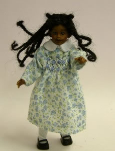 Heidi Ott Dolls House Doll, Young Brown Girl in Blue & White Dress (XC017)