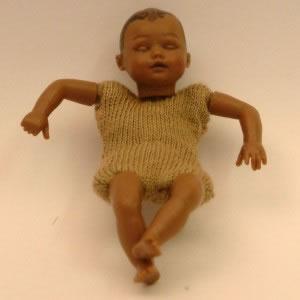 Heidi Ott Dolls House Doll, Brown Baby Sleeping (XKB08)