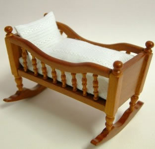 Walnut Babies Cradle, Dolls House Miniature (XY101W)