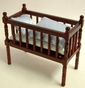 Mahogany Babies Cot, Dolls House Miniature (XY103M)