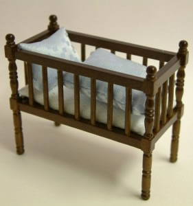 Walnut Babies Cot, Dolls House Miniature (XY103W)