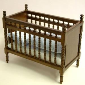 Walnut Baby Bed/Crib, Dolls House Miniature (XY105W)