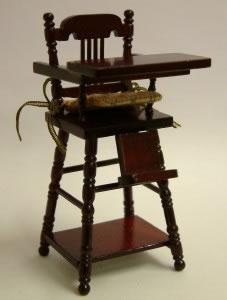 Mahogany Child's Highchair, Dolls House Miniature (XY108M)