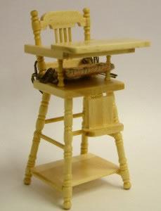Pine Child's Highchair, Dolls House Miniature (XY108P)