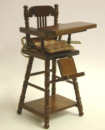 Walnut Child's Highchair, Dolls House Miniature (XY108W)