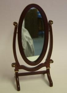 Dolls House Miniature Walnut Standing Dress Mirror (XY206W)