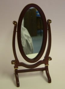 Dolls House Miniature Mahogany Standing Dress Mirror (XY206M)
