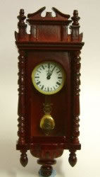 Mahogany Working Wall Clock, Dolls House Miniature (XY402M)