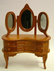 Dolls House Miniature Cherry Dressing Table with Mirror (XY500C)