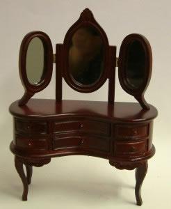 Dolls House Miniature Mahogany Dressing Table with Mirror (XY500M)