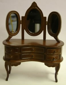 Dolls House Miniature Walnut Dressing Table with Mirror (XY500W)