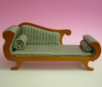 Dolls House Miniature Cherry Chaise Longue (XY503C)