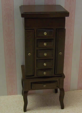 Dolls House Miniature Walnut Jewellery Cabinet (XY605W)