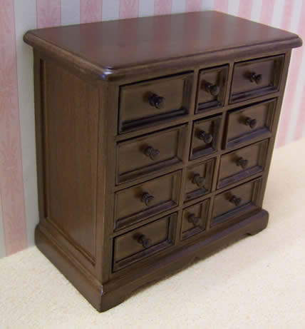 Dolls House Miniature Walnut Chest of Drawers (XY752W)