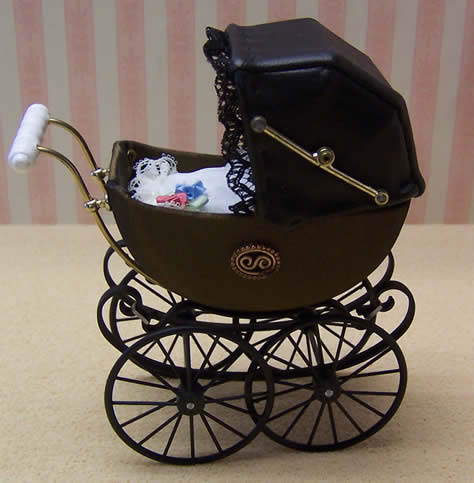 Antique Pram in Bronze, Dolls House Miniature (XZ107)