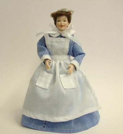 Heidi Ott Dolls House Doll, Chamber Maid in Blue & White (X024)