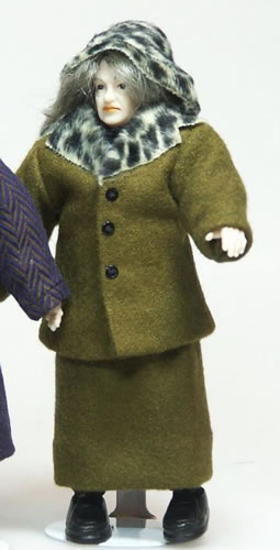Heidi Ott Dolls House Doll, Lady with Green Outdoor Suit (X071)