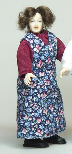 Heidi Ott Dolls House Doll, Old Lady in Floral Apron (X073)