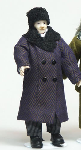 Heidi Ott Dolls House Doll, Man with Coat & Hat (X076)