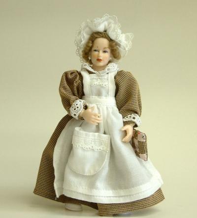 Heidi Ott Dolls House Doll, Maid in Beige/White (X087)